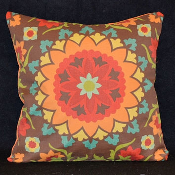 Decorative throw pillow cover indoor outdoor fabric medallion pattern circle pattern