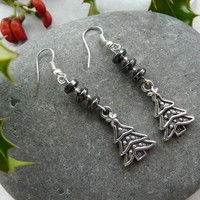 Earrings Christmas Tree Hematite Free Worldwide Shipping