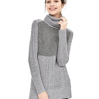 Banana Republic Womens Mixed Stitch Turtleneck Sweater Tunic