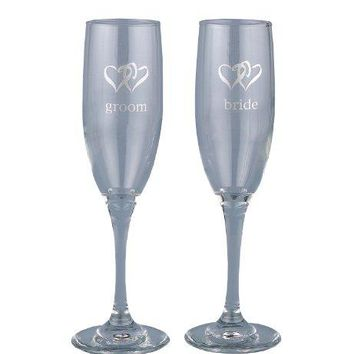 Hortense B Hewitt Wedding Accessories Linked Heart Bride and Groom Champagne Toasting Flutes Set Of 2