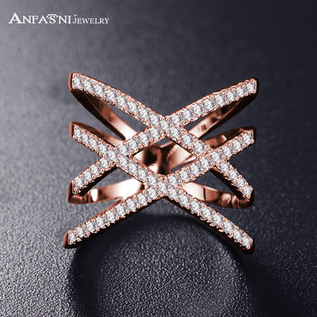 Hot!Bottom Price Only 2 Weeks Fashion Rings for Women Double Letter X Shape Ring Zirconia Micro Paved Platinum Plated Women Anel