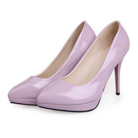 Women Work Shoes Pointed Thin High Heel Night Club  purple