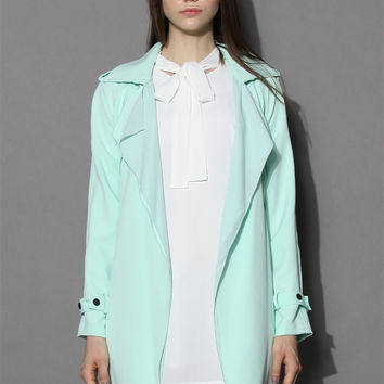 Inspirational Waterfall Trench Coat in Mint Green