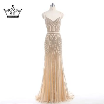 2017 Luxury Nude Gold Diamond Floral Long Evening Dress Spaghetti Straps Pattern Formal Dresses Gown Robe De Soiree Real Picture