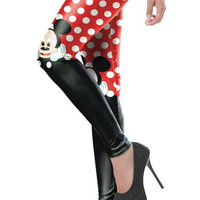 BadAssLeggings Women's Polka Dot Leggings Large Red White
