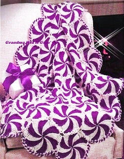 Peppermint Candy Pinwheel Afghan Throw From