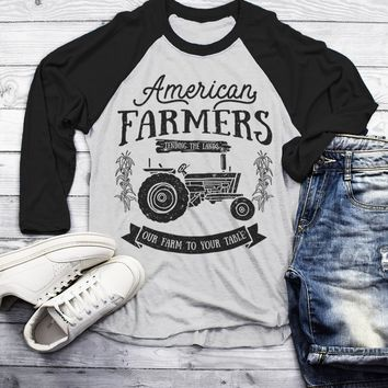 Men's Vintage Farmer T-Shirt American Farmers Tractor Tee Farm to Table 3/4 Sleeve Raglan