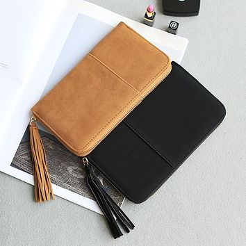 Free shipping new arrival fashion women wallets brand long wallet Nubuck PU leather solid color tassel high quality change purse