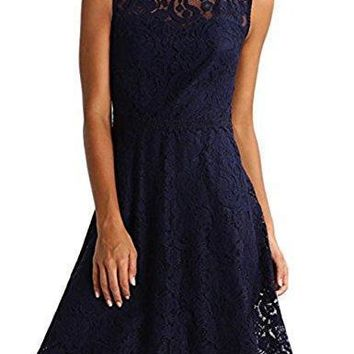 Fleasee Women Sleeveless Pleated Lace Cute Cocktail Party A-Line Dress