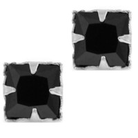 Black CZ Cubic Zirconia Princess Cut Square Sterling Silver Magnetic Men Stud Earrings 5mm