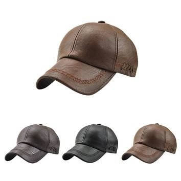 Men's Faux Leather Baseball Cap with Stitching