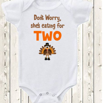 Thanksgiving Pregnancy Announcement Idea Onesuit ® brand bodysuit or shirt She's eating for two funny fall pregnancy reveal, new baby