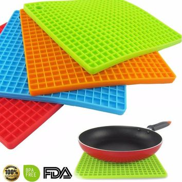 DCCKL72 7-inch Silicone Pot Holder, Trivet Mat, jar Opener, spoon Rest   Non Slip, Flexible, Durable,  Heat Resistant Hot Pads
