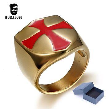 Mens Jewelry Stainless Steel Knights Templar Medieval Crusade Signet Ring