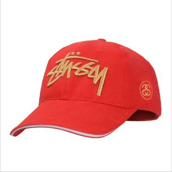 ONETOW Stussy men baseball cap twill embroidery cap Red