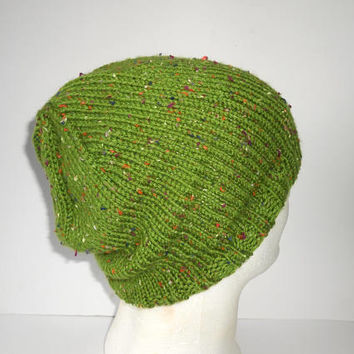 St Patrick's Day Green Hat Men's Slouch Hat Handknit green tweed cap slouchy toque