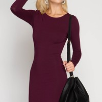Plum Long Sleeve Bodycon Dress (final sale)