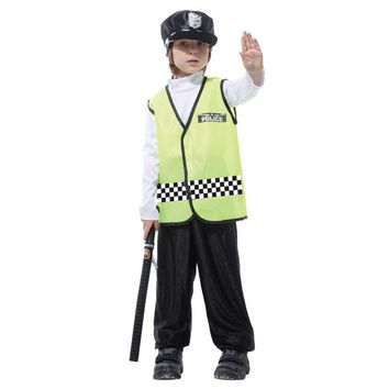 M-XL Fantasia Boys Kids Traffic police Cosplay Disfraces Policeman Costume Halloween Costumes for Children Carnival party