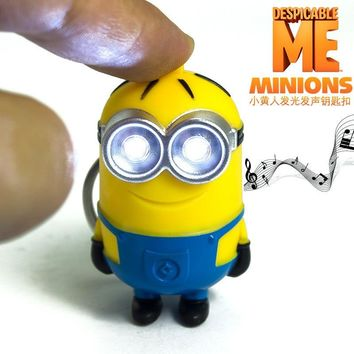 Popular new arrive Despicable me 3 minion Keychain,Led keychain,cute flashlight keyring,talk minions christmas gift 3# 30pcs/lot