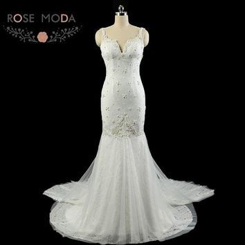 Rose Moda Lace Mermaid Wedding Dress Backless Boho Wedding Dresses with Pearls 2018