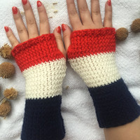 Hand Knitted Fingerless Gloves, red,navy blue,white gloves ,Flower embroidered gloves,Turkish handicrafts, Gift Ideas, Winter Accessories,