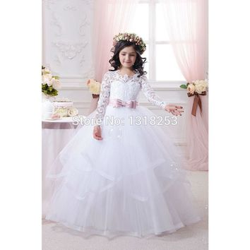 Princess Lace Flower Girl Dress with Long Sleeve Ball Gown Tulle Cheap China First Communion Dresses Little Girls Kids Pageant