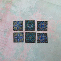 Dollhouse Miniature Set of Six Teal & Blue Tiles for Decorating - C