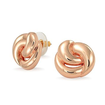 Simple Twisted Rope Love Knot Stud Earrings Shinny Rose Gold Plated