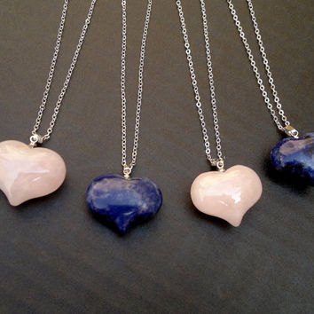 Heart Necklace Rose Quartz Necklace Sodalite Necklace Pink Heart Blue Heart Quartz Jewelry Sodalie Jewelry Mineral Necklace Heart Pendant