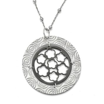 Two Tone Large Circle Medallion Necklace in Sterling Silver, 17 Inch