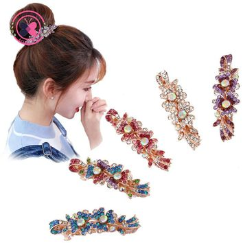 Girls Lovely Flower Shaped Rhinestone Hairpins Headwear Women Small Spring Clips Hair Clip Barrettes Hair Accessories