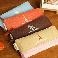 Retro towers linen pencil bag pen and pencil case Kawaii Mini Storage organizer bag stationery school supplies