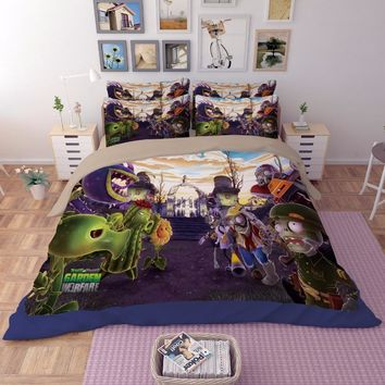 Cool Plants vs. Zombies game 3D print bedding sets Children's boy Adult duvet cover full queen king size Good quality Home textileAT_93_12