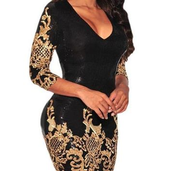 Victorian Gold Sequins 3/4 Sleeve Bodycon Dress