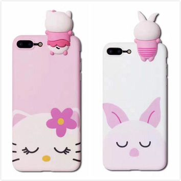 Pink Pig Kitty Cute phone Shell case Cover For iPhone 6/6S 7 plus Christmas gift