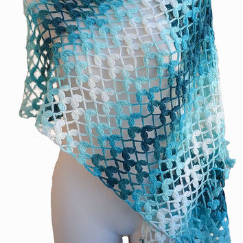 Crocheted  blue aqua  white stole lovely bridal wedding elegant
