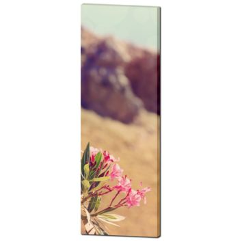 Pink Flower Art - Greek Landscape - Green and Brown - Feminine Decor - Floral Wall Art - Tall Canvas - Large Canvas - 20 x 60 Canvas