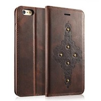 iVAPO Iphone 6 Plus Case, Premium Genuine Leather [Flip Cover] Ultra Slim Retro Series with [Stand Function] for Iphone 6 Plus (5.5 Inch) (MM547) (classic)