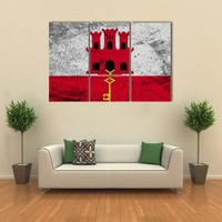 Flag Of Gibraltar Multi Panel Canvas Wall Art