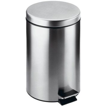 Archie Round Step Trash Can, Stainless Steel Wastebasket With Lid Cover