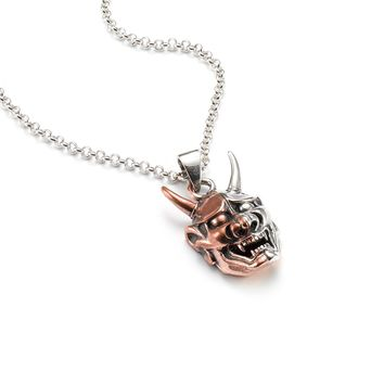 Two Tone Hannya Mask Pendant Necklace