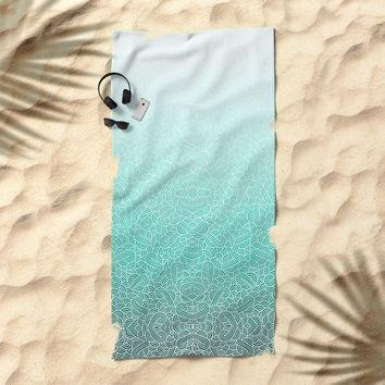 Ombre turquoise blue and white swirls doodles Beach Towel by Savousepate