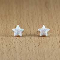 White Synthetic Opal Star Stud Earrings