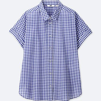 WOMEN SOFT COTTON CHECKED SHORT-SLEEVE SHIRT