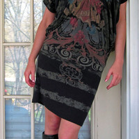 LBD Tattoo Dress Black Jersey Shore Snookie Dolman Drape Tube Dress On/Off Shoulder Medium AWESOME