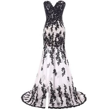 Mic Dresses Long Lace Strapless Evening Gown Prom Dresses (US 2, White)