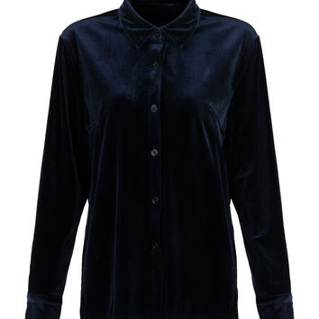Dark Blue Velvet Draped Shirt