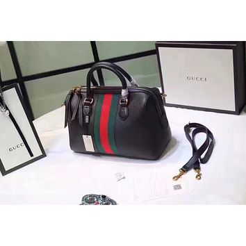 dfe0b5f5ef9 GUCCI WOMEN S NEW STYLE LEATHER BOSTON HANDBAG SHOULDER BAG