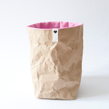 Basket made from paper and fabric: Ombré Pink