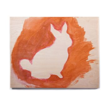 "Theresa Giolzetti ""Orange You A Bunny"" Abstract Paint Birchwood Wall Art"